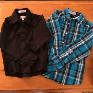 2 Boys Long Sleeve Button Down Dress Shirts Sz 6/7